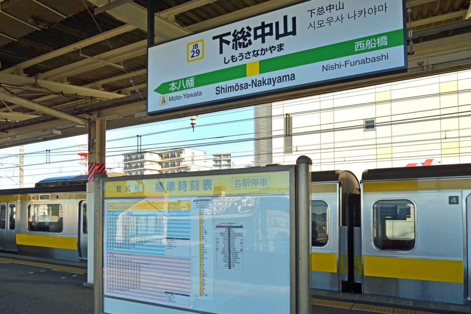 下総中山駅総武線ホームの写真